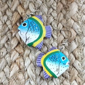 NWT Vintage art paint wood fish tropical novelty